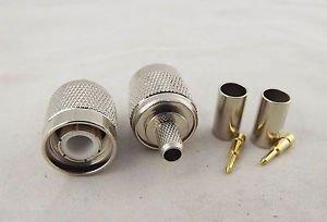 10x TNC Male Plug Straight Crimp For RG58 RG142 RG400 RG223 LMR195 RF Connector