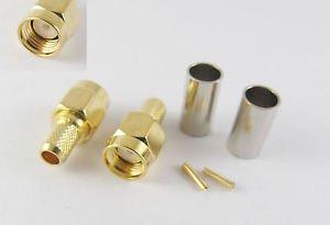 100pcs RP-SMA Male Straight Crimp for RG58 RG142 RG223 RG400 LMR195 RF Connector