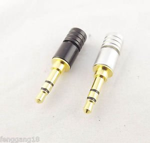 10x Copper Gold Plated 3.5mm Stereo 3 Pole Male Plug Soldering Connector Adapter