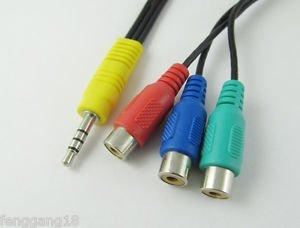 3.5mm Mini AV Male to 3 RCA Female Splitter Cable Lead Stereo Speaker DVD 16cm