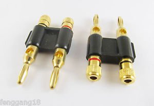 1pcs Gold Plated Dual Speaker Banana Plug Connector Adapter Black Color