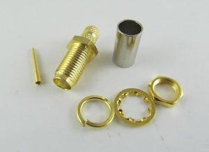 2pcs RP-SMA Female Nut Bulkhead Crimp RG58 RG142 RG400 LMR195 Cable RF Connector