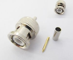 100X BNC Male Plug RF Straight Crimp RG174 RG316 RG179 LMR100 Cable Connector