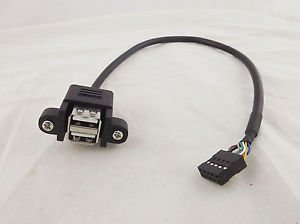 """1FT 2 USB 2.0 A Female Panel Mount To 10Pin Socket 0.1"""" Header Motherboard Cable"""