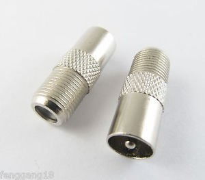100 Pcs New F-Type Female Jack to TV PAL Male Plug Coaxial RF Connector Adapter