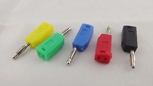 50x Nickel Copper Radioshack Stackable 2mm Mini Banana Plug Connector 5 Colors
