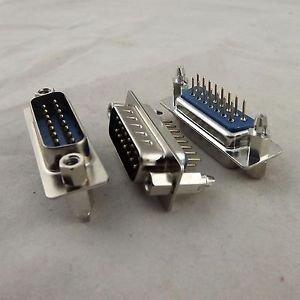 10pcs D-SUB DB15 15Pin Male DIP PCB Solder Connector Adapter 2 Rows Lock Screw