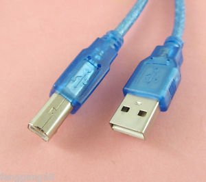 USB 2.0 A Male to USB Type B Male Scanner Printer Cable AM/BM Cord Blue 1.5m 5FT