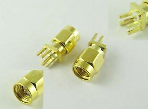 "SMA Male Plug Solder 0.062"" PCB PC Board Edge Mount Coaxial RF Connector Adapter"