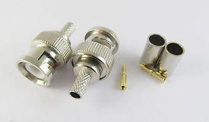 1Set 3 Piece BNC Male Plug Crimp RG58 RG142 RG400 LMR195 RG223 Coaxial Connector