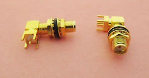 PC Board PCB Mount SMA Female Jack Nut Bulkhead Right Angle Connector New