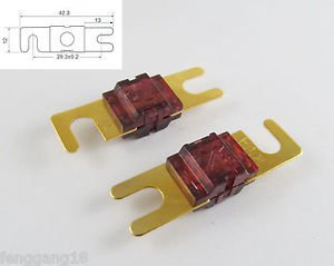 10pcs Gold Plated Car Audio AFS Mini ANL Fuse Auto Stud Fuses 32V 100A 100AMP