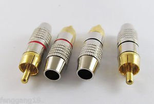 5 Pairs RCA Plug Audio Cable Cord Male Connector Gold Plated Adapter