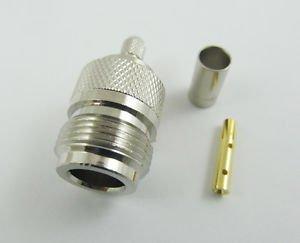 N Female Jack Crimp F RG58 RG142 RG400 LMR195 RG223 Cable Straight RF Connector