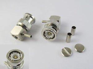 BNC Male Right Angle Plug Crimp for RG316 RG174 RG179 LMR100 Cable RF Connector