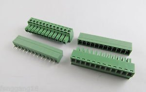 10x 12 Pin/Way Pitch 3.81mm Screw Terminal Block Connector Green Pluggable Type