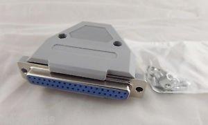 10x DB37 Female 37 Pin 2 Rows D-SUB Connector Grey Plastic Hood Cover Backshell