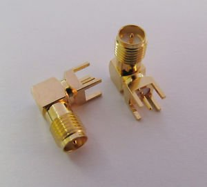 10x PCB Mount RP-SMA Female Right Angle Coaxial Gold RF Solder Connector Adapter