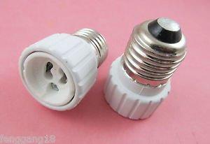 2X E27 to GU10 Socket LED Halogen CFL Light Bulb Lamp Adapter Converter Holder