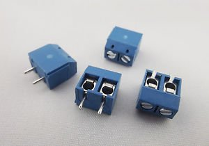 100x 2way 5mm 2 Pin Plug in Terminal Block Screw Connector Pitch Panel PCB Mount