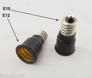 10x E10 To US E12 Candelabra Base Socket LED Light Bulb Lamp Adapter Converter