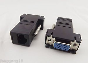 10x RJ45 To 15 Pin VGA Female Adapter f VGA Extend Over CAT5 CAT6 Network Cable