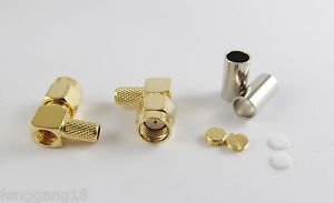 2x RP-SMA Male Right Angle Female Pin Crimp RG58 RG142 LMR195 Cable RF Connector