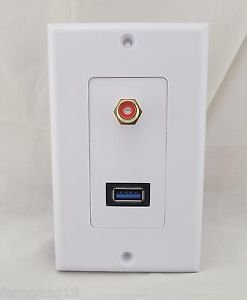 1x USB 3.0 Port RCA Component Phono Audio AV Wall Socket Outlet Face Plate Panel
