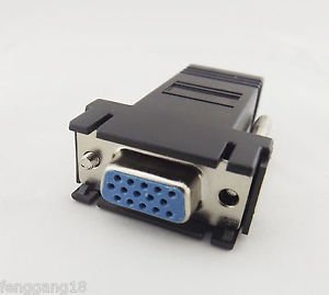 1x RJ45 To 15 Pin VGA Female Adapter for VGA Extend Over CAT5 CAT6 Network Cable