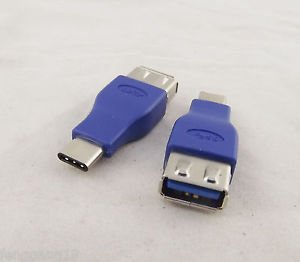"""10x Blue USB 3.1 Type C Male to USB 3.0 A Female Adapter Data Power Macbook 12"""""""