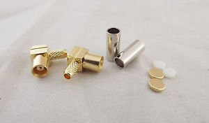 10x MCX Female Jack Right Angle Crimp for RG174 RG316 LMR100 Cable RF Connector