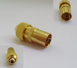 10x RF Antenna CATV TV FM Coax Cable PAL TV Female Jack Connector Adapter Gold