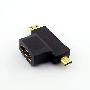 HDMI Female To Mini HDMI Male + Micro HDMI Male 2 in 1 Cable Adapter Connector