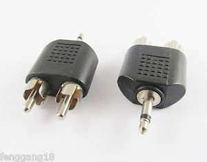 """10x 3.5mm 1/8"""" Mono Male To 2 Dual RCA Male Y Splitter Audio Cable Audio Adapter"""