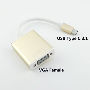 """USB 3.1 Type C Male USB-C to VGA Female Adapter 1080P HDTV Cable for 12"""" Macbook"""