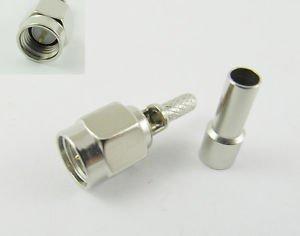 50Pcs Nickel SMA Male Plug Window Straight Crimp for RG174 RG316 RF Connector