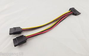 10x SATA Male 15pin To 2 15 pin Female Hard Disk Power Splitter Extension Cable