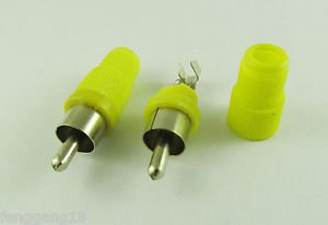 10pcs Yellow Solder Type RCA Phono Male Plug Audio Video Cable Adapter Connector