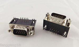 10pcs VGA DB15 15-Pin D-SUB 3 Rows Male Right Angle PCB Solder Connector Adapter