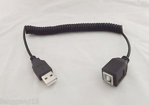 USB 2.0 A Male Plug To USB B Female Jack Extension Coiled Spiral Cable 5Ft 1.5m