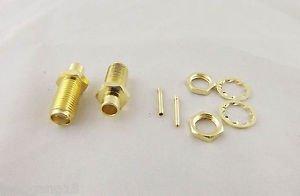 "100pcs SMA Female Nut Bulkhead Solder RF Connector Semi-rigid RG402 0.141"" Cable"