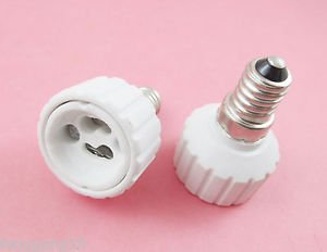 2 X E14 to GU10 Socket LED Halogen CFL Light Bulb Lamp Adapter Converter Holder