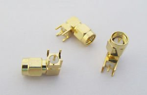 10x SMA Male Plug Right Angle Solder for PC Board PCB Mount RF Coaxial Connector
