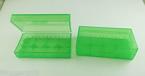 1x Green Transparent Hard Plastic Case Holder Storage Box for 18650 CR123A 16340