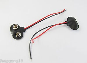 100 Snap on 9V 9 Volt Battery Clip Buckle Connector Soft Shell T Type Black Wire