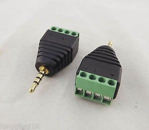 10x 2.5mm TRRS Stereo 4 Pole Male Plug To AV Screw Video Balun Terminal Adapter
