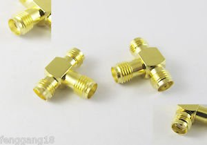 10x SMA Female To Two Double SMA Female Jack Triple T Type RF Adapter Connector