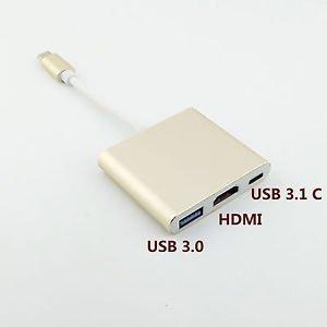 "USB-C 3.1 Type C to USB 3.0 HDMI AV Type C Female 3 in 1 Adapter for Macbook 12"""