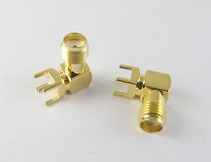 100x PCB PC Board Mount SMA Female Jack Right Angle Coaxial RF Connector Adapter