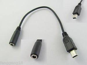 10x DC Power Jack Female 3.5mm x 1.35mm to USB Mini 5 Pin Male Cable 20cm Black